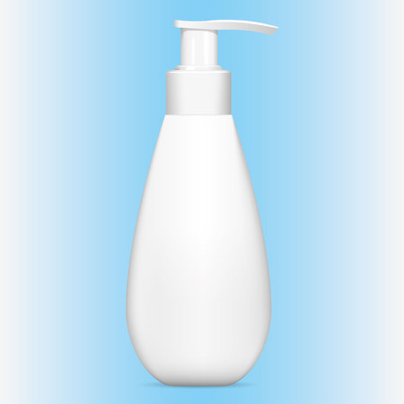 Illustration of an object bottle object for cleaning product or cosmetic, white, pump cap. Ideal for product catalogs and cosmetic hygiene information