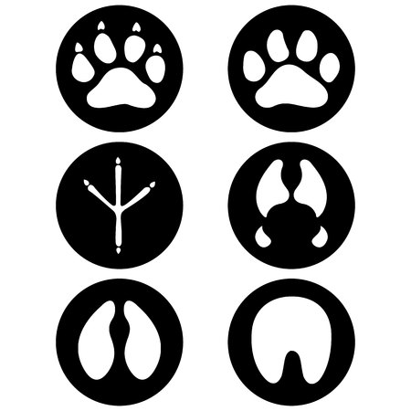 Illustration icons, symbol animal paws, dog, bird, equine, bovine, swine, feline. Ideal for visual communication, veterinary information and institutional material Ilustração