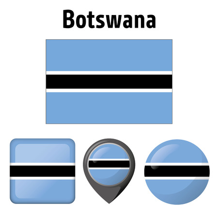 Illustration flag of Botswana, and several icons. Ideal for catalogs of institutional materials and geography