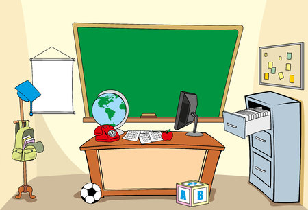 Illustration of a school environment, school class, classroom or desk. Ideal for educational or institutional materials Ilustração