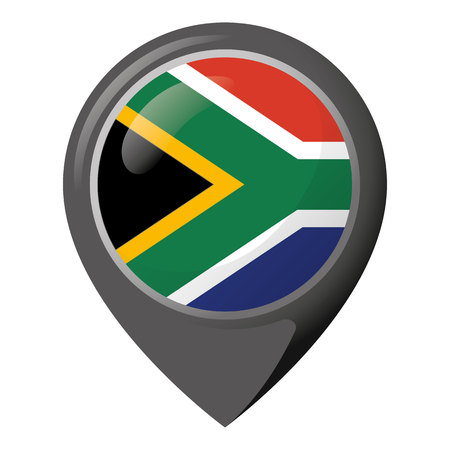 Icon representing pin of location with the flag of South Africa. Ideal for catalogs of institutional materials and geography