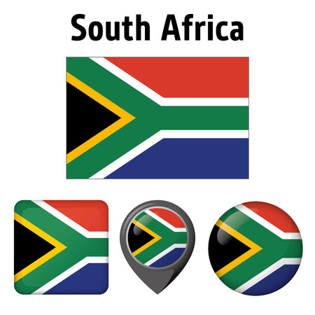 Illustration flag of South Africa, and several icons. Ideal for catalogs of institutional materials and geography