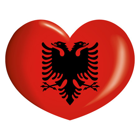 Icon representing button flag of Albania. Ideal for catalogs of institutional materials and geography