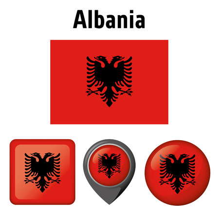 Illustration flag of Albania, and several icons. Ideal for catalogs of institutional materials and geography Ilustração