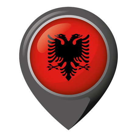 Icon representing location with the flag of Albania. Ideal for catalogs of institutional materials and geography
