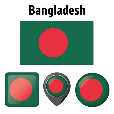 Illustration flag of Bangladesh, and various icons. Ideal for catalogs of institutional materials and geography