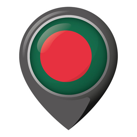 Icon representing pin of location with the flag of Bangladesh. Ideal for catalogs of institutional materials and geography Ilustração