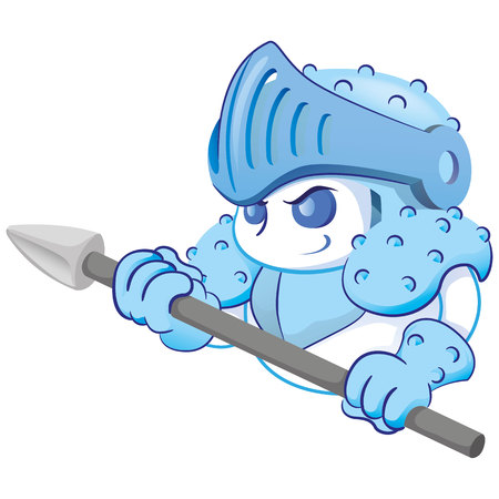 White blood cell mascot responsible for devesa of the body, diseases and other infections. Ideal for informational and institutional materials of medicine and health