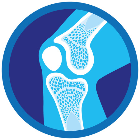 Icon or symbol of orthopedic health, knee, joints. Ideal for informational and institutional materials of medicine Illustration