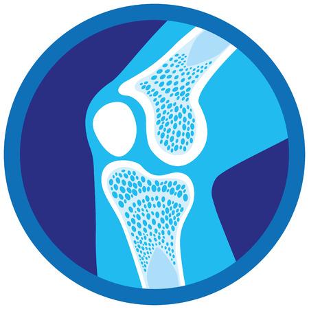 Symbol oder Symbol für orthopädische Gesundheit, Knie, Gelenke. Ideal für Informations- und institutionelle Materialien der Medizin