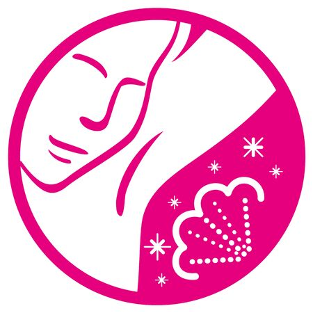 Icon pictogram person passing deodorant in the armpit, pink. Ideal for catalogs, informational, educational and institutional personal care material Illustration