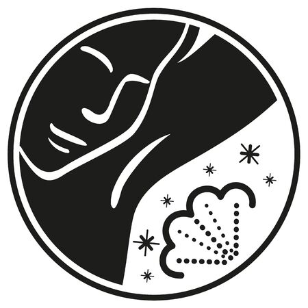Icon pictogram person passing deodorant in the armpit, black. Ideal for catalogs, informational, educational and institutional personal care material Ilustração