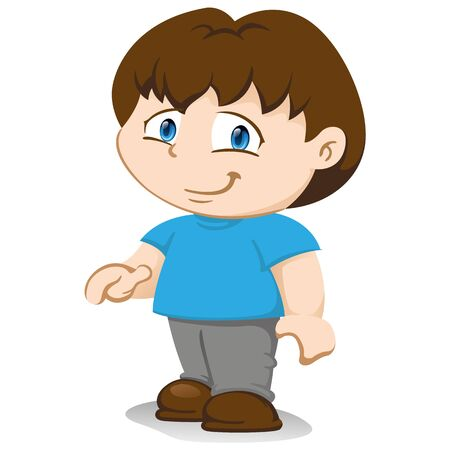 Illustration depicts a yuyu character, boy mascot boy standing in standing position waiting for wearing blue t-shirt gray pants. Ideal for training, institutional and promotional materials
