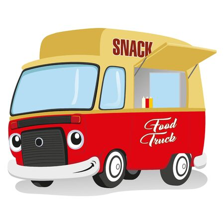 Illustration of a food truck mascot, food delivery vehicle. Ideal for informational and institutional entrepreneurship in snacks