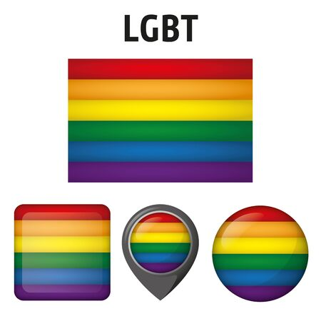 Illustration LGBT banner, and various icons. Ideal for catalogs of institutional materials homosexual flag