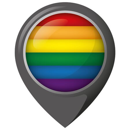 Icon representing location with rainbow flag, LGBT meeting place. Ideal for catalogs of institutional materials homosexual flag Ilustração