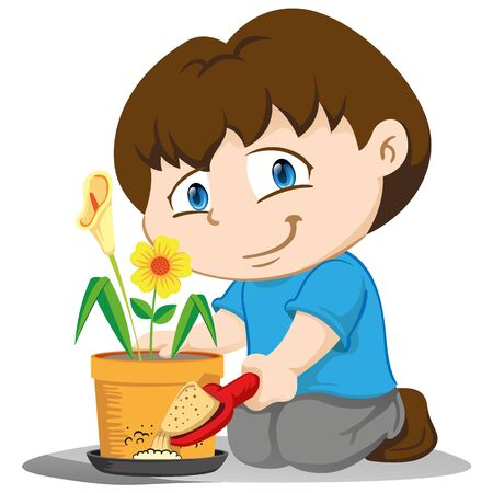 Illustration yuyu, childrens mascot, putting sand in a place with stagnant water, mosquitoes and disease stilts transmitter. Ideal for training and sanitation materials