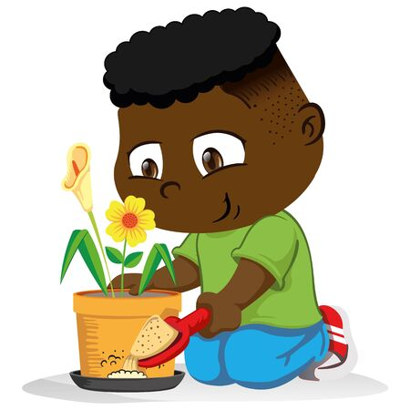 Illustration john, childrens mascot, putting sand in a place with stagnant water, mosquitoes and disease stilts transmitter. Ideal for training and sanitation materials Illustration
