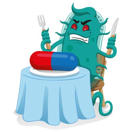 Cartoon representation of a super bacterium a microorganism, sitting at the table feeding the medicine or antibiotic and resistant ending. Ideal for informational and medicinal materials Ilustração