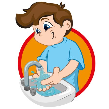 Illustration of a boy with tuft, washing his hands in a sink with running water. Ideal for tutorials and training materials, institutional and health Ilustração