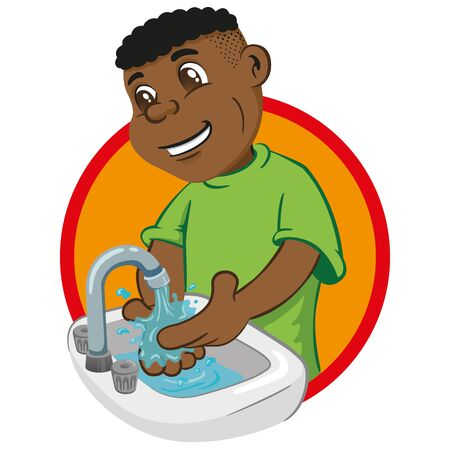 Illustration of boy with afro descent washing his hands in a sink under running water. Ideal for tutorials and training materials, institutional and health