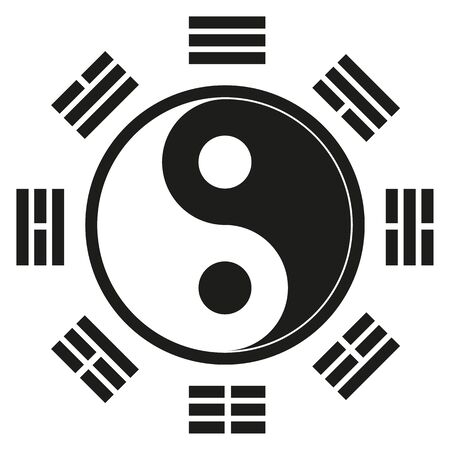 Icon symbol, Yin Yang, represents an oriental philosophy, oriental medicine. Ideal for educational and institutional materials