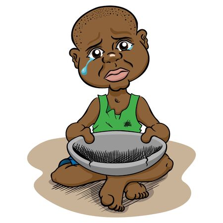 Illustration depicting a hungry needy child without food starving, afro descendant. Ideal for institutional materials and advertisements