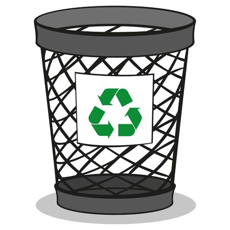 Illustration of a trash bin recycling trash. ideal for training and internship