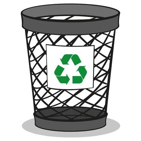 Illustration of a trash bin recycling trash. ideal for training and internship