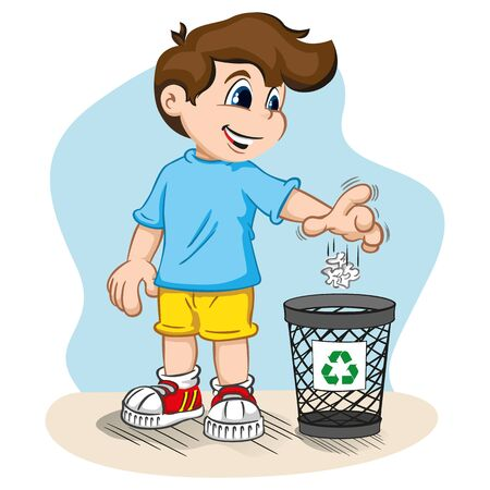 쓰레기를 휴지통에 던지고 쓰레기를 재활용하는 소년의 삽화. 교육 및 인턴십에 이상적