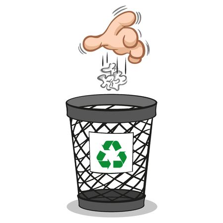 Illustration of a hand throwing trash into the trash bin, recycling trash. ideal for training and internship