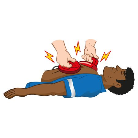 Illustration First Aid resuscitation (CPR) using defibrillator to cardiac arrest, afro man. Ideal for training materials, catalogs and institutional