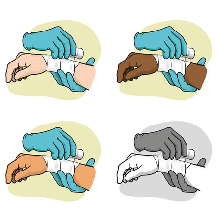 Illustration first aid hands doing dressing bandage, ethnic. Ideal for medical, informative catalogs and institutional material