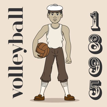 Illustration represents volleyball player of old when the sport was created 1985. Ideal for educational, sports and historical materials Ilustração