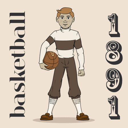 Illustration represents basketball player of old when the sport was created 1981. Ideal for educational, sports and historical materials