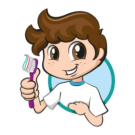 Illustration Smiling Caucasian Boy Holding a Toothbrush Encouraging Oral Hygiene. Ideal for institutional educational campaigns