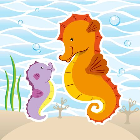 Marine animal mascot Seahorse illustration. Ideal for veterinary, biology and zoology materials Ilustrace
