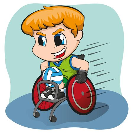 Illustration represents wheelchair blond boy practicing rugby, wheelchair sport. Ideal for sports and institutional materials Stock Illustratie
