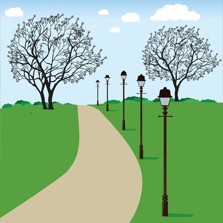 Outdoor park scenery illustration. Ideal for advertising and institutional materials