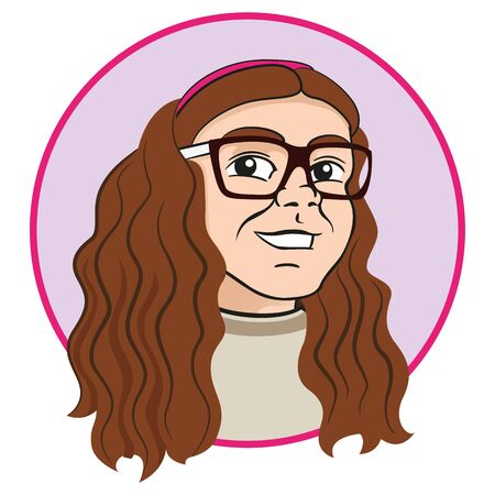 Girl with brown curly hair and glasses. Ideal for educational and institutional materials