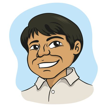 Boy with features, indian, arab, middle east. Ideal for educational and institutional materials Ilustração