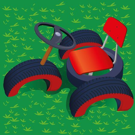 Illustration of a recycled toy for children playground. Ideal for educational and institutional materials