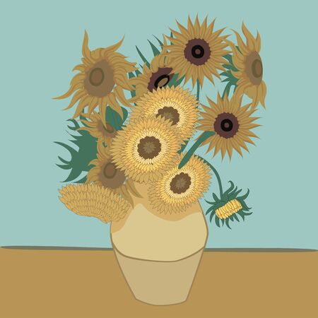 Illustration of a vase with sunflower flower. Ideal for decorative and natural materials