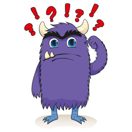 Cartoon of a little monster, charismatic purple, confused. Ideal for educational and institutional materials