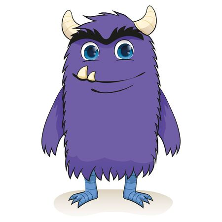 Cartoon of a charismatic purple monster smiling. Ideal for educational and institutional materials