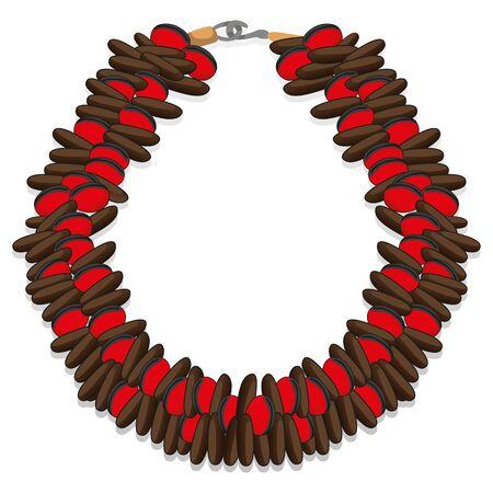 Object handmade bracelet seeds, bulls eye and watermelon. Ideal for educational and institutional materials Ilustração