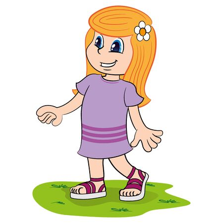 Illustration depicting a straight long haired blonde girl. Ideal for catalogs, newsletters and institutional materials Ilustração