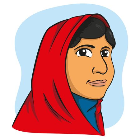 Illustration representing a girl with hijab, Middle East, Arabic, Indian. Ideal for catalogs, newsletters and institutional materials Illustration