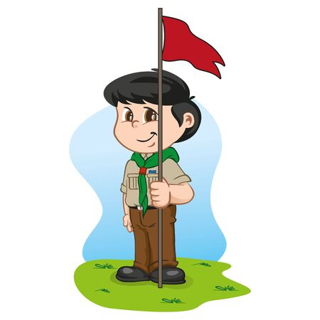 Illustration caucasian boy in scout uniform holding a flag. Ideal for institutional and educational materials Vectores