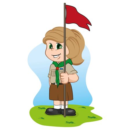 Illustration caucasian girl in scout uniform holding a flag. Ideal for institutional and educational materials